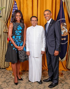 President Barack Obama and First Lady Michelle Obama greet His Excellency Maithripala  Sirisena, The President of the Democratic Socialist Republic of Sri Lanka, during the United Nations General Assembly reception at the New York Palace Hotel in New York, N.Y., Sept. 28, 2015. (Official White House Photo by Lawrence Jackson)
