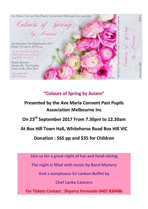 """""""Colors of Spring by Avians"""" Presented by the Ave Maria Convent Past Pupils Association Melbourne Inc"""