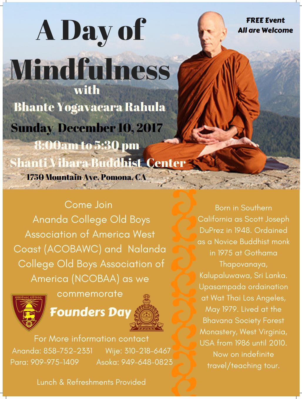A Day of Mindfulness with Bhante Yogavacara Rahula