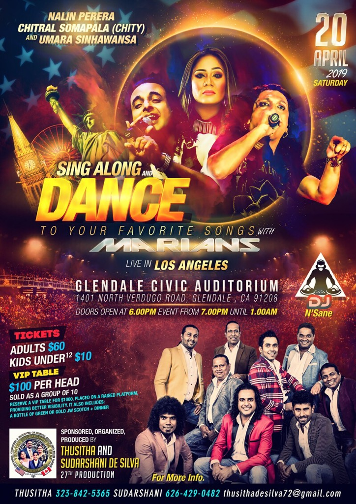 Thusitha De Silva's 27th Production SING ALONG and DANCE Live in Los Angeles