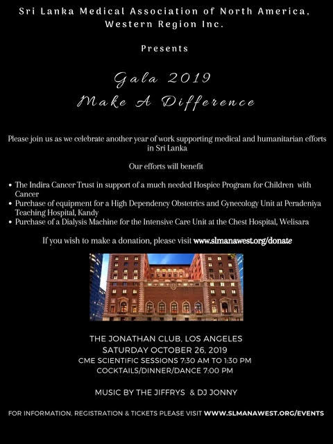 Fundraiser Gala 2019 Organized by the Sri Lanka Medical Association of North America Western Region Inc