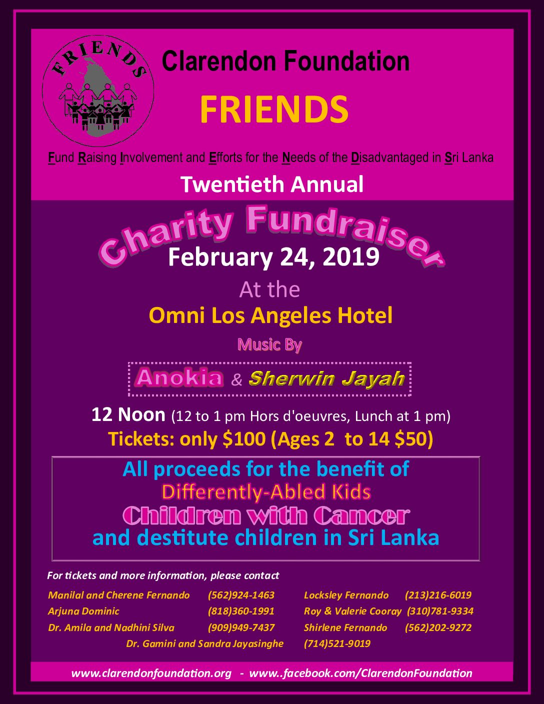"""FRIENDS"" Charity Fundraiser organized by Clarendon Foundation"
