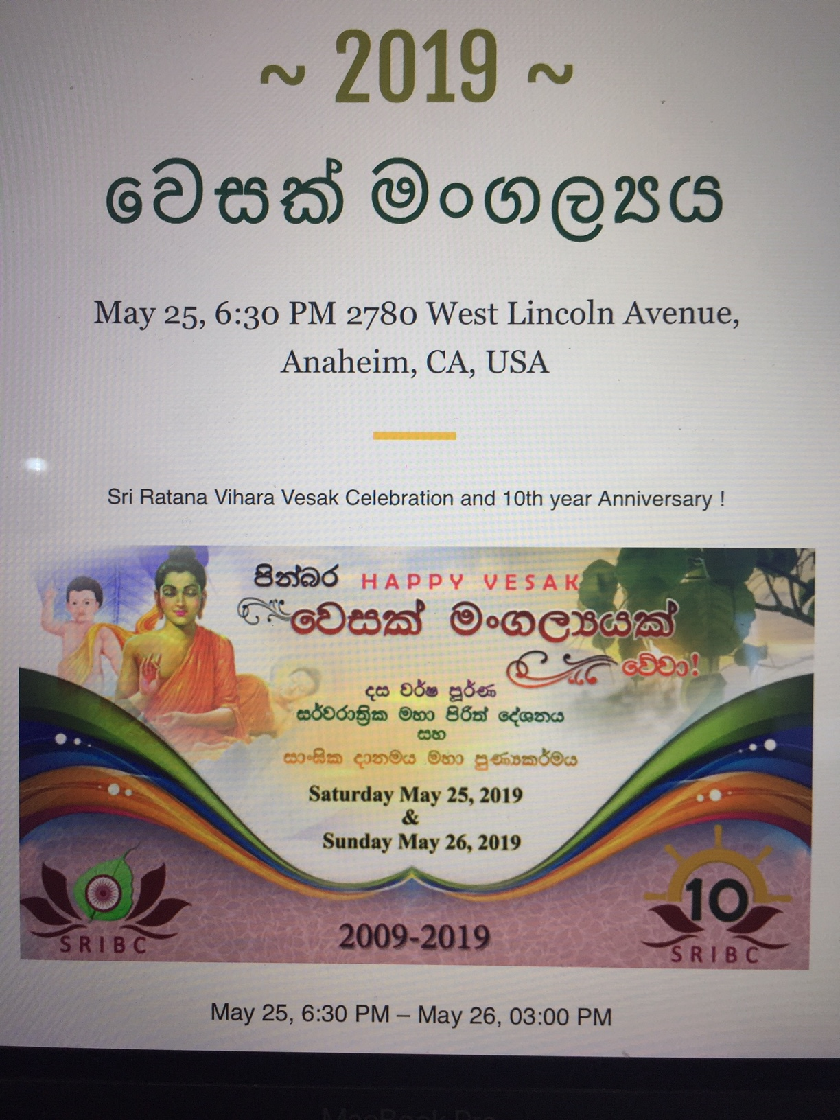 Vesak celebration & 10th year anniversary