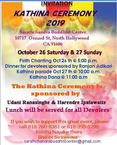 Kathina Ceremony-Sarathchandra Buddhist Center