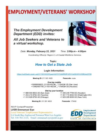 How to Get A State Job Workshop Flyer – Feb 22 2021